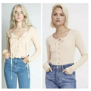 FREE  PEOPLE CECILIA PINK BOHO HENLEY KNIT TOP XS